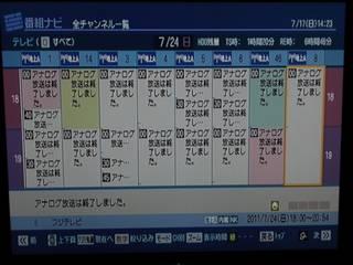 地上アナログ最終日の番組表